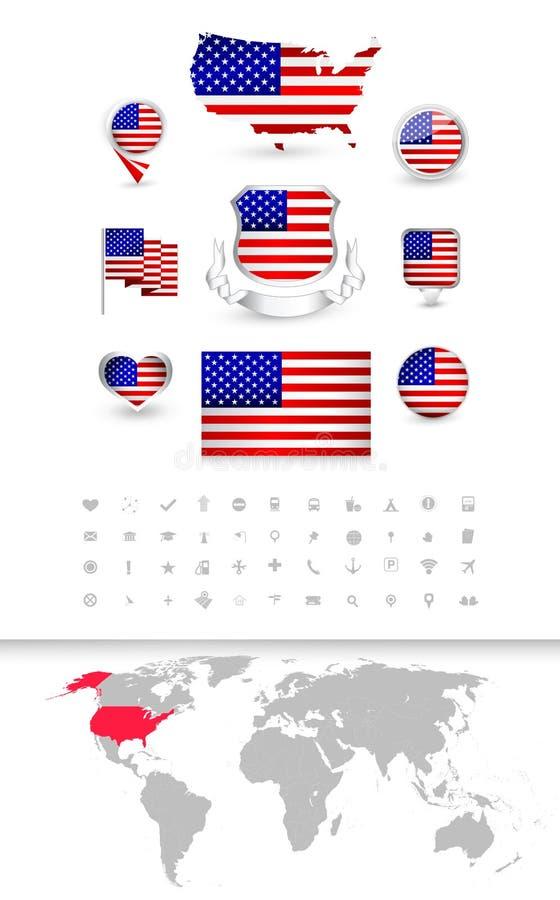 Raccolta della bandiera di U.S.A. e mappa di mondo dettagliata royalty illustrazione gratis