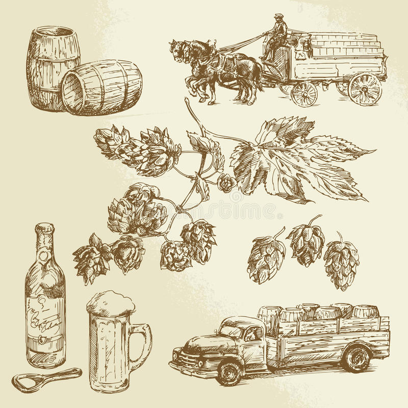 Raccolta della birra royalty illustrazione gratis
