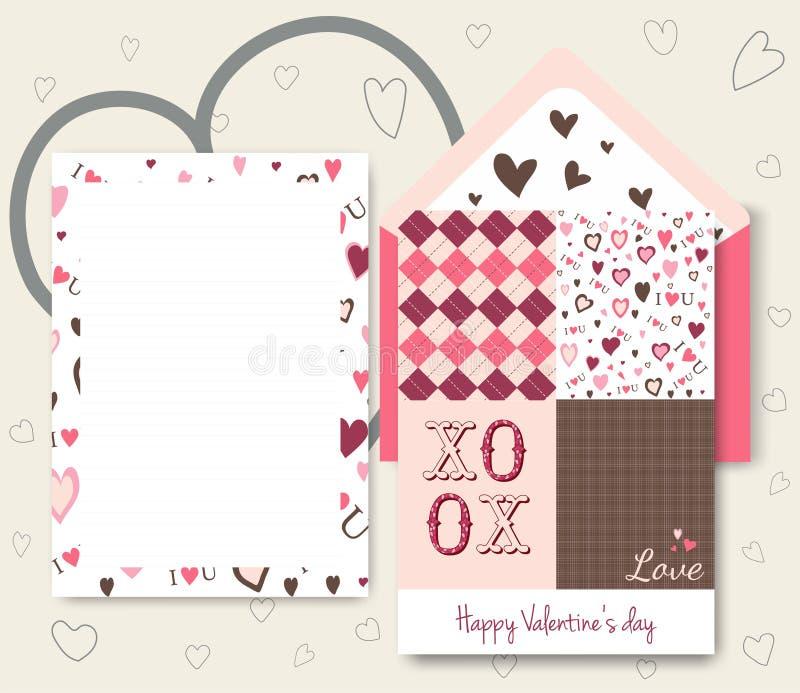 Raccolta della carta colorata bianca di giorno di biglietti di S. Valentino di rosa royalty illustrazione gratis
