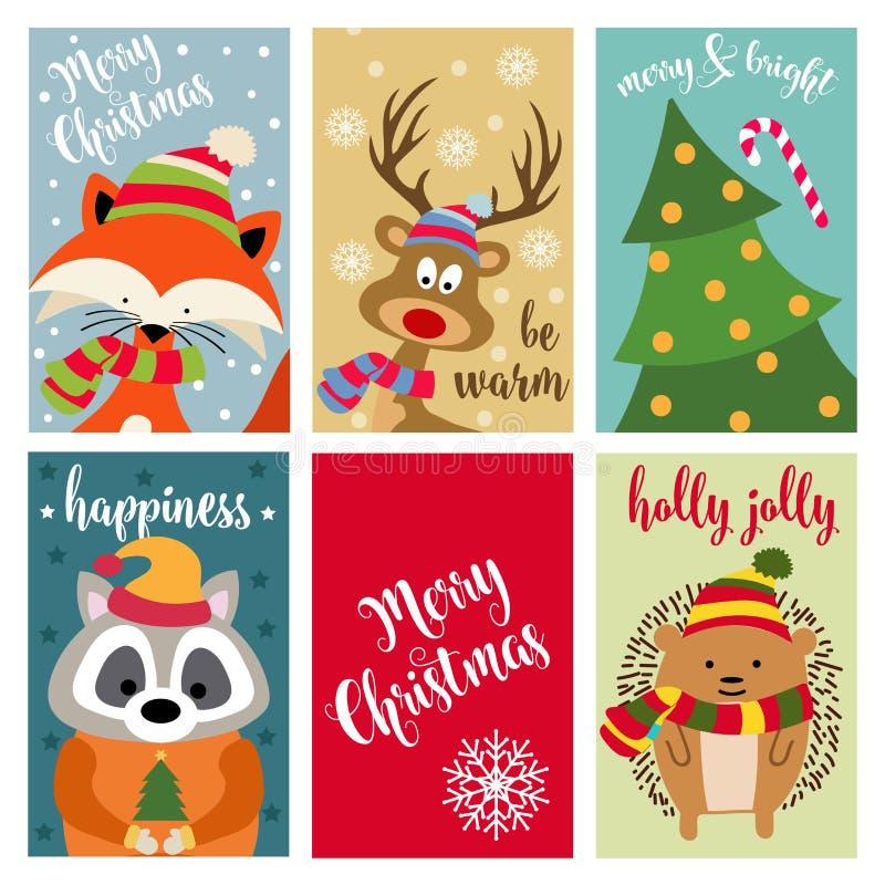 Raccolta della cartolina di Natale con gli animali ed i desideri illustrazione di stock