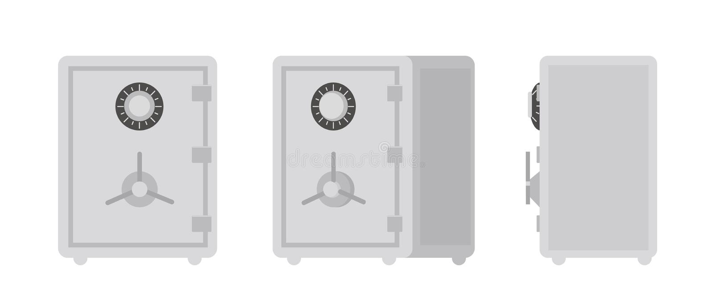 Raccolta della cassaforte o della cassaforte isolata su fondo bianco, sulla parte anteriore e sulle viste laterali Scatola chiudi illustrazione di stock