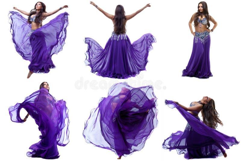 Raccolta della danza del ventre castana adorabile di dancing immagini stock