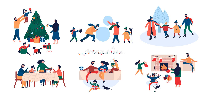Raccolta della famiglia che gode dell'attività all'aperto della casa delle vacanze di Natale royalty illustrazione gratis