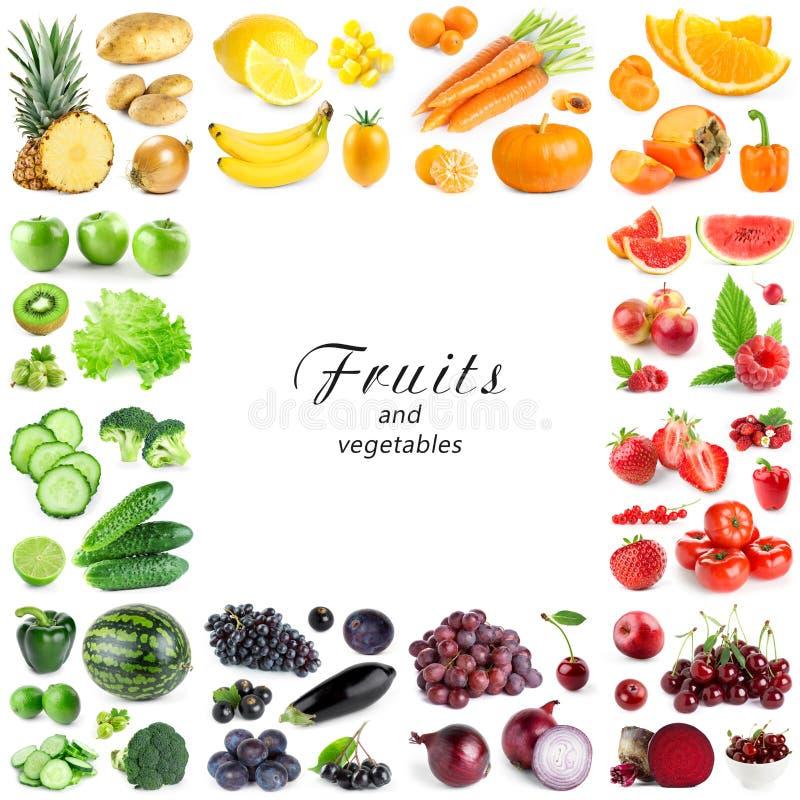 Raccolta della frutta e delle verdure di colore su fondo bianco Pagina immagini stock libere da diritti