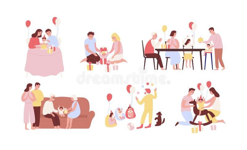 Raccolta della gente che celebra primo compleanno del loro bambino Pacco delle scene della festa di famiglia con l'apertura infan illustrazione vettoriale