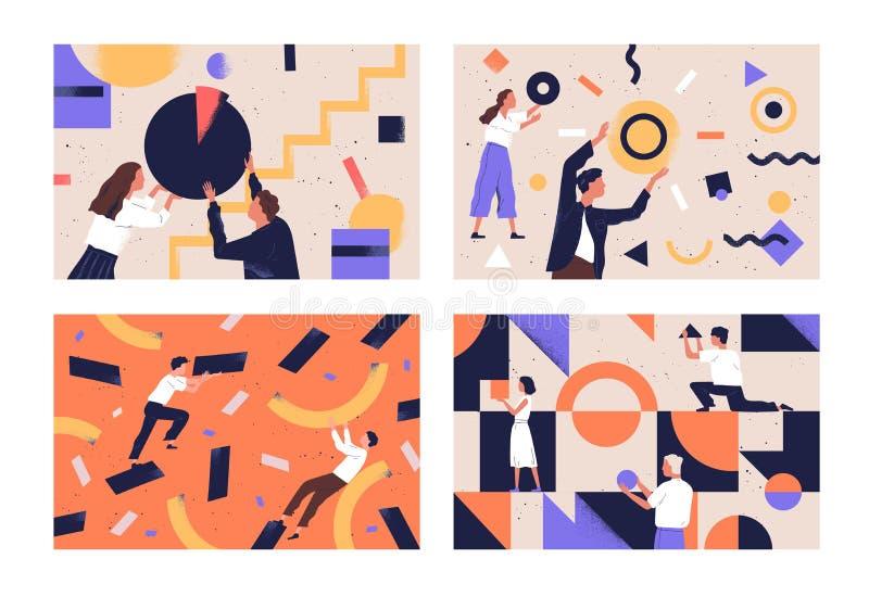 Raccolta della gente che organizza le forme geometriche astratte sparse intorno loro Pacco dei giovani e delle donne illustrazione vettoriale