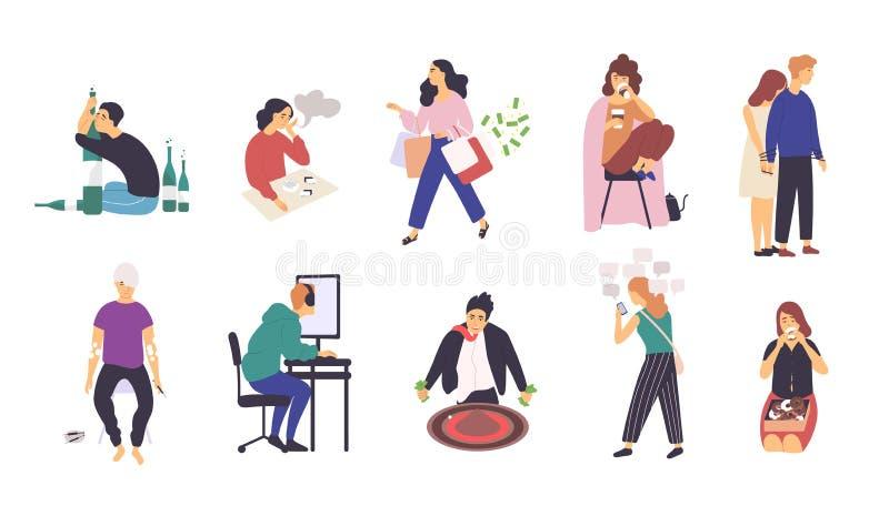 Raccolta della gente con le varie dipendenze Pacco dei personaggi dei cartoni animati maschii e femminili con inducente al vizio  royalty illustrazione gratis