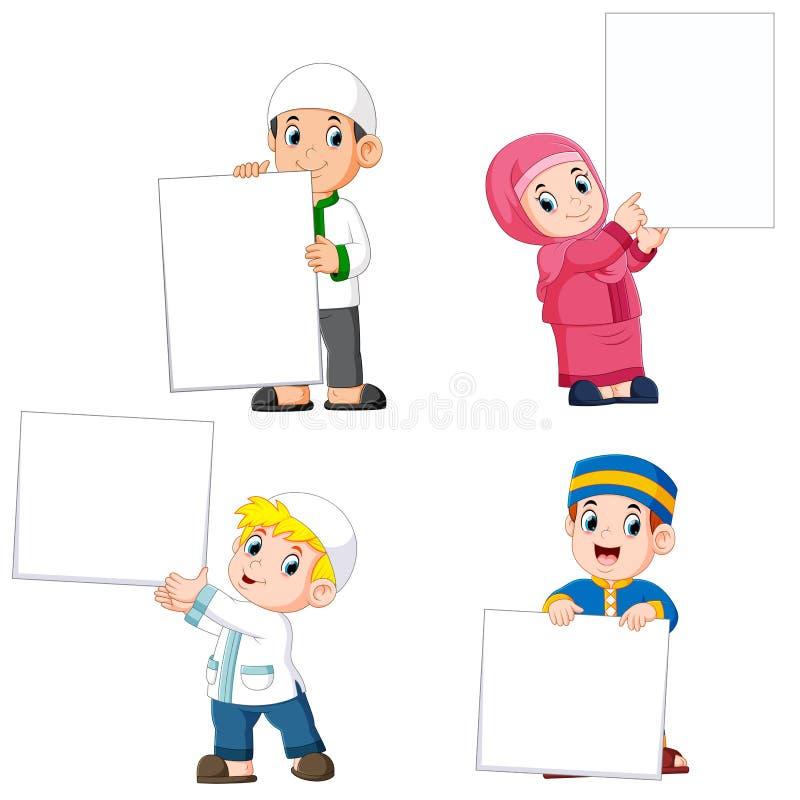raccolta della gente musulmana che tiene grande segno in bianco illustrazione di stock