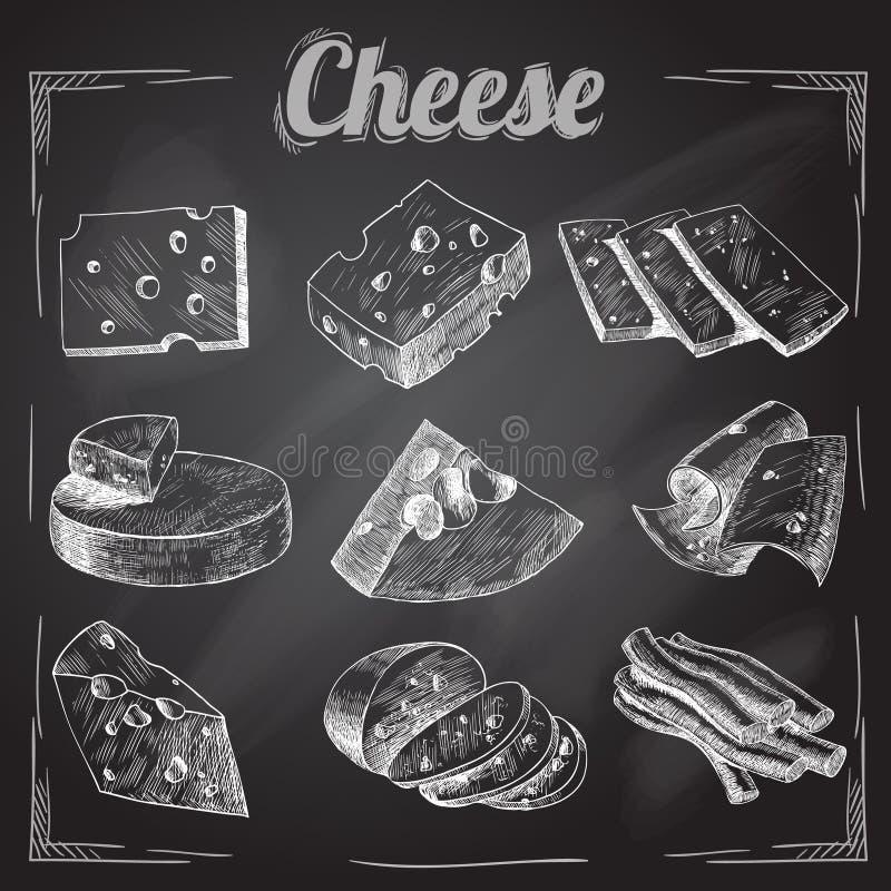 Raccolta della lavagna del formaggio illustrazione vettoriale