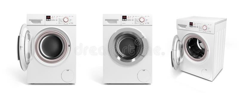Raccolta della lavatrice sul illustratio bianco del fondo 3D illustrazione vettoriale