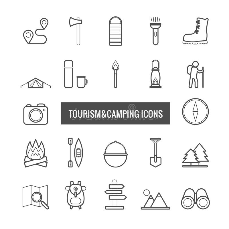 Raccolta della linea turismo ed icone di campeggio di vettore per il desi di web illustrazione di stock