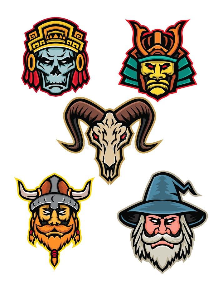 Raccolta della mascotte dello stregone e del cranio del guerriero royalty illustrazione gratis