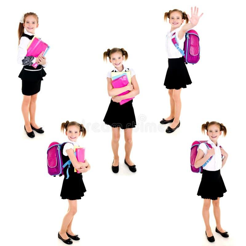 Raccolta della ragazza felice sorridente della scuola delle foto immagine stock