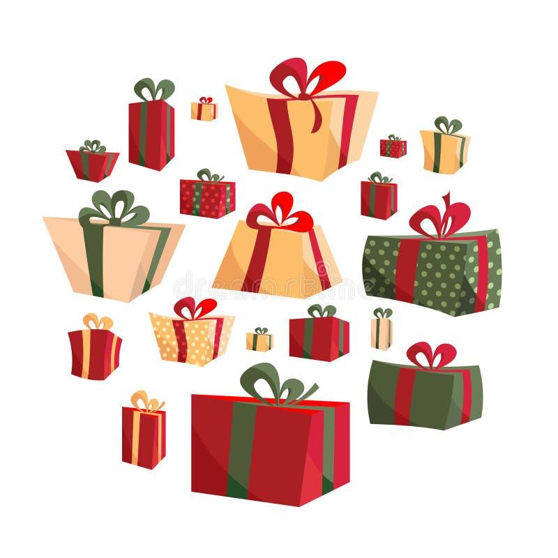 Raccolta della scatola attuale piana del volume differente del fumetto isolata su fondo bianco Nuovo anno e Natale intelligenti illustrazione di stock
