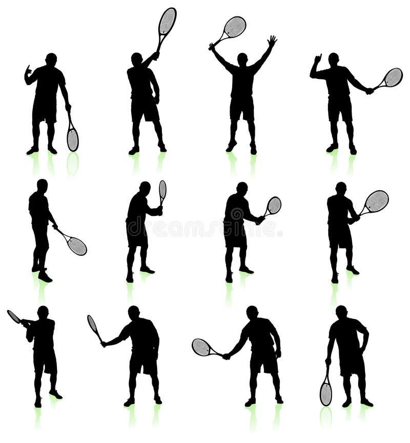 Raccolta della siluetta del tennis illustrazione di stock