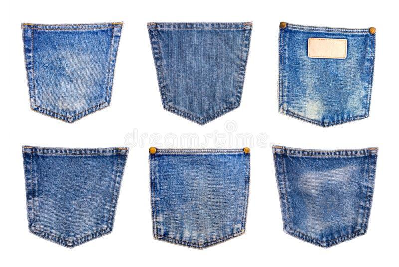 raccolta della tasca delle blue jeans del denim isolata sul backgrou bianco immagini stock