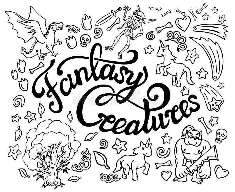 Raccolta delle arti e dell'iscrizione di scarabocchio di fantasia illustrazione di stock