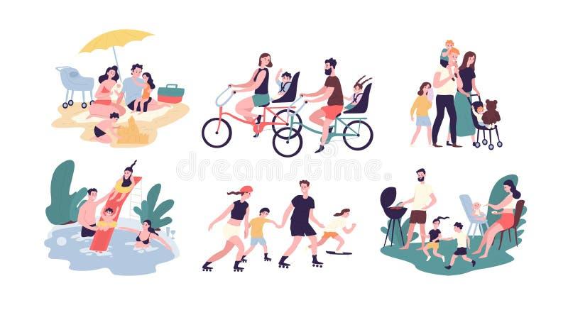 Raccolta delle attività ricreative all'aperto della famiglia Madre, padre e bambini prendenti il sole, bici di guida, camminanti illustrazione vettoriale