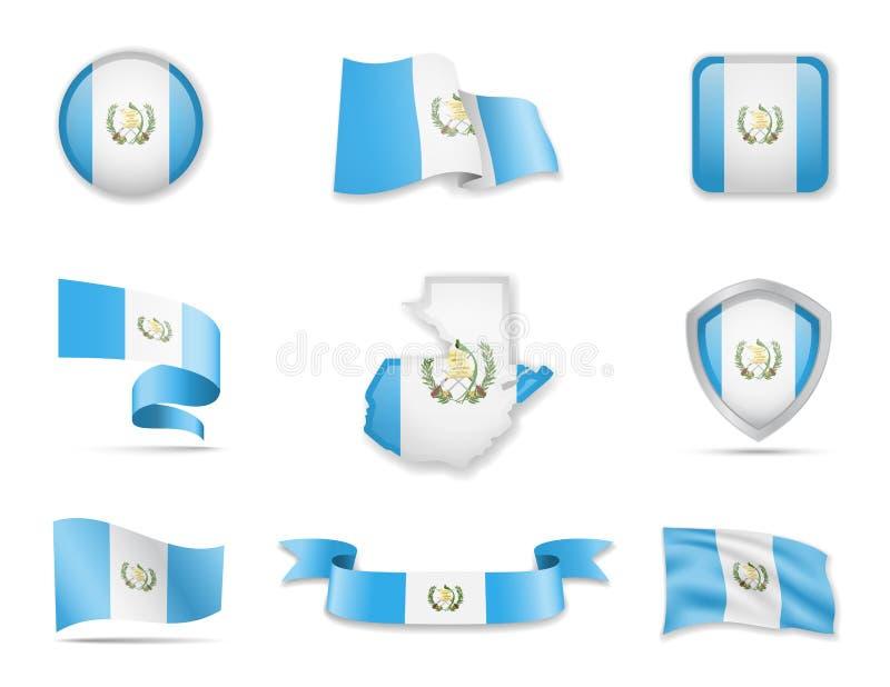 Raccolta delle bandiere del Guatemala L'illustrazione di vettore ha messo le bandiere ed il profilo del paese illustrazione di stock