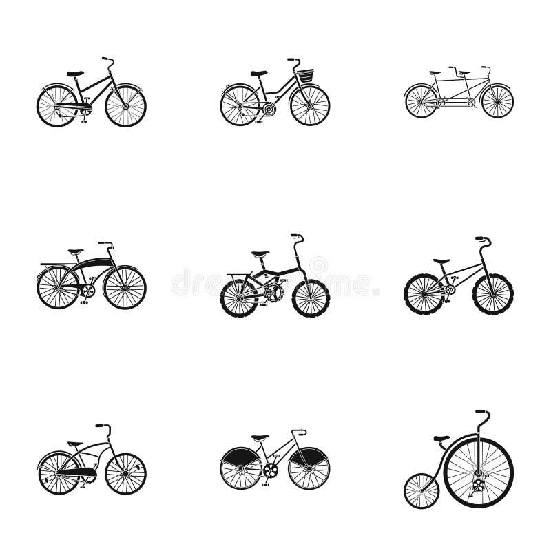 Raccolta delle bici con differenti ruote e strutture Bici differenti per lo sport e le passeggiate Icona differente della bicicle royalty illustrazione gratis