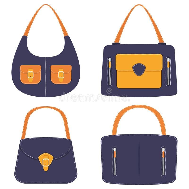 Raccolta delle borse di cuoio variopinte alla moda con le tasche e la cucitura bianca Borsa della donna, insieme Borse delle sign royalty illustrazione gratis