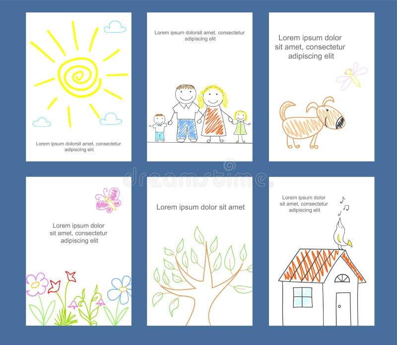 Raccolta delle carte con lo schizzo dei bambini nello stile di scarabocchio royalty illustrazione gratis