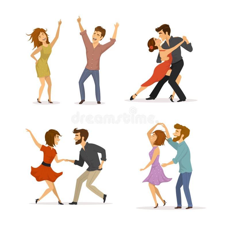Raccolta delle coppie che ballano tango, torsione, clubbing della discoteca e ballo romantico illustrazione di stock