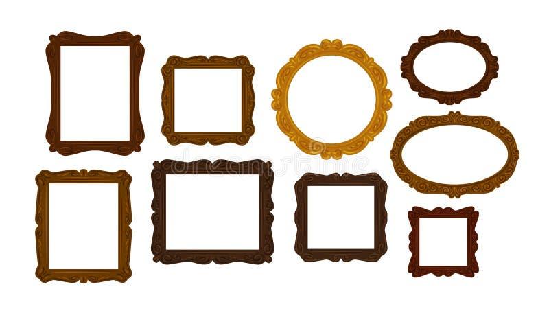 Raccolta delle cornici di legno d'annata Specchio, icona del ritratto o simbolo Illustrazione di vettore royalty illustrazione gratis