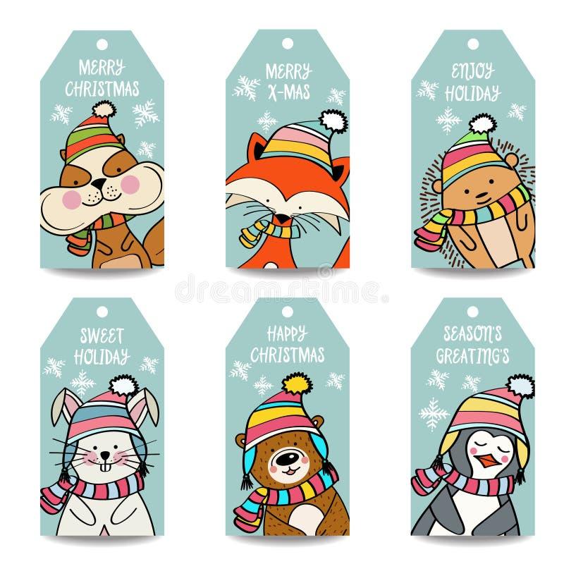 Raccolta delle etichette di Natale con gli animali royalty illustrazione gratis
