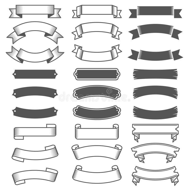 Raccolta delle etichette e dei nastri dell'annata Elementi di disegno di vettore royalty illustrazione gratis