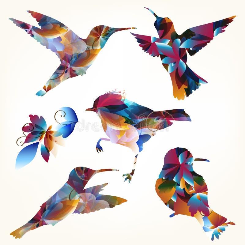 Raccolta delle forme variopinte dei colibrì di vettore royalty illustrazione gratis