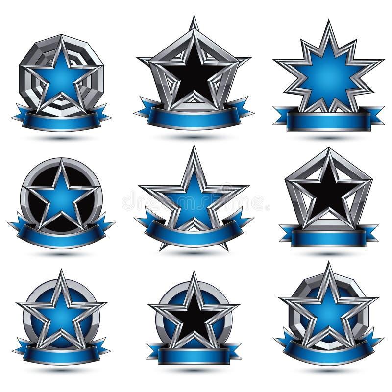 Raccolta delle icone affascinanti araldiche rotonde grige 3d, gra d'argento illustrazione vettoriale