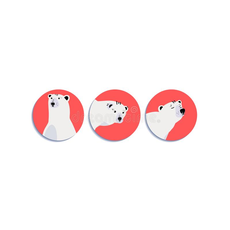 Raccolta delle icone con le museruole degli orsi illustrazione di stock