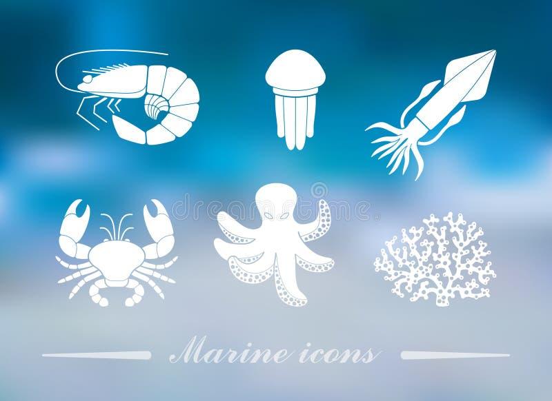 Raccolta delle icone degli abitanti del mare nello stile piano sui precedenti variopinti con le luci defocused illustrazione vettoriale