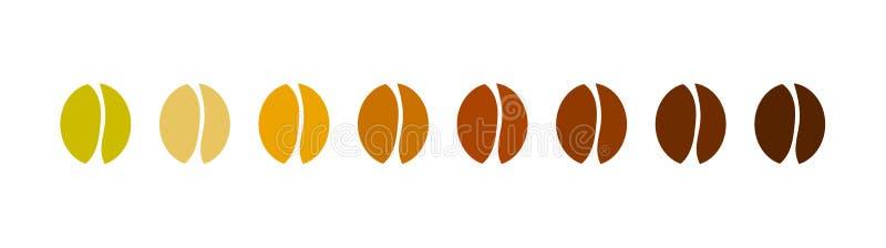 Raccolta delle icone del chicco di caffè illustrazione vettoriale