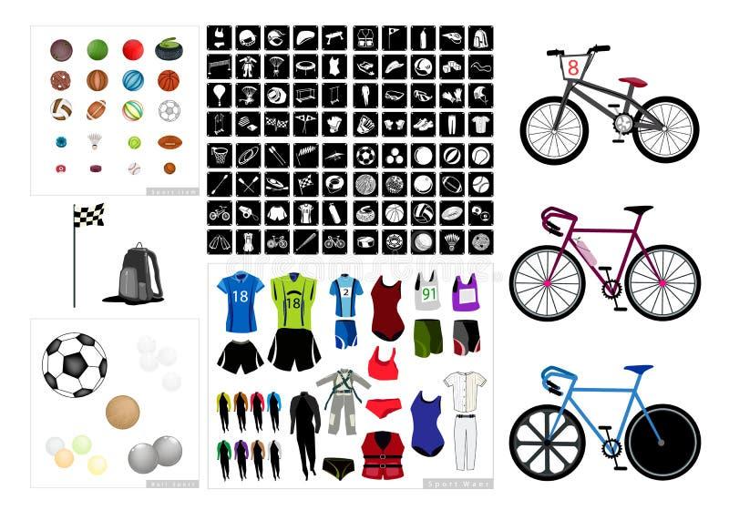 Raccolta delle icone dell'attrezzatura di sport su fondo bianco illustrazione vettoriale