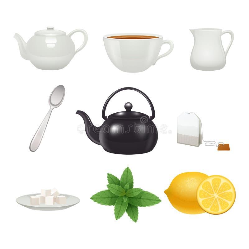 Raccolta delle icone dell'insieme di tè royalty illustrazione gratis