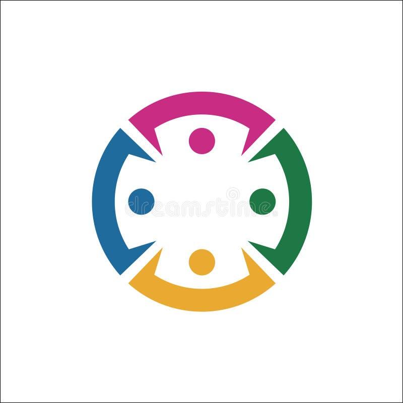 Raccolta delle icone della gente nel cerchio - vector l'impegno di concetto illustrazione vettoriale