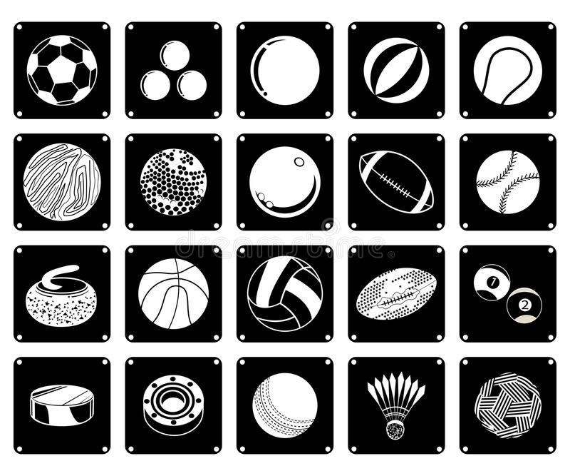Raccolta delle icone della palla di sport su fondo bianco illustrazione vettoriale