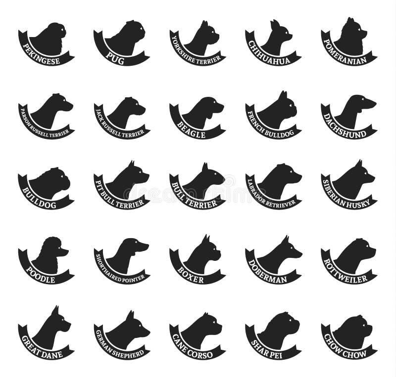 Raccolta delle icone delle razze del cane di vettore isolata su bianco illustrazione di stock