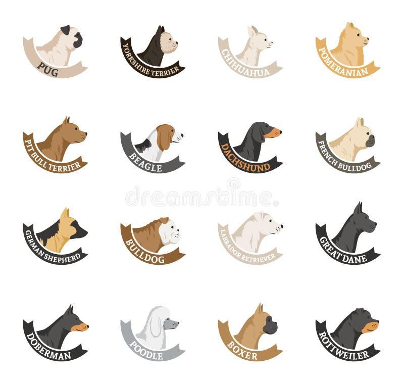 Raccolta delle icone delle razze del cane di vettore isolata su bianco illustrazione vettoriale