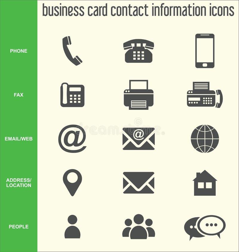 Raccolta delle icone di informazioni di contatto del biglietto da visita royalty illustrazione gratis