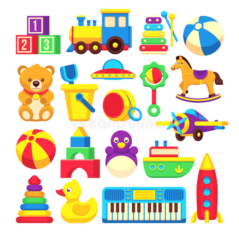 Raccolta delle icone di vettore del fumetto dei giocattoli dei bambini royalty illustrazione gratis