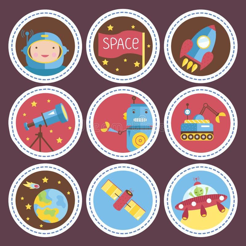 Raccolta delle icone di vettore del fumetto dello spazio illustrazione vettoriale