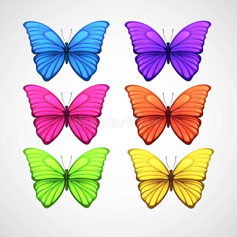 Raccolta delle icone di vettore della farfalla di colore Vettore illustrazione di stock