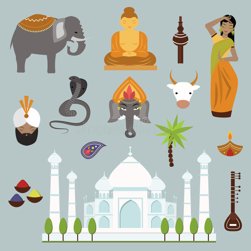 Raccolta delle icone di vettore di viaggio del punto di riferimento dell'India illustrazione di stock