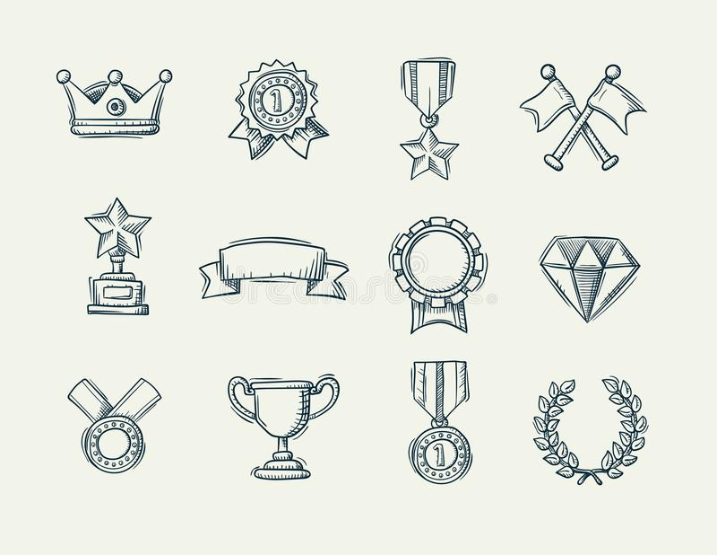 Raccolta delle icone disegnate a mano del premio di scarabocchio illustrazione vettoriale