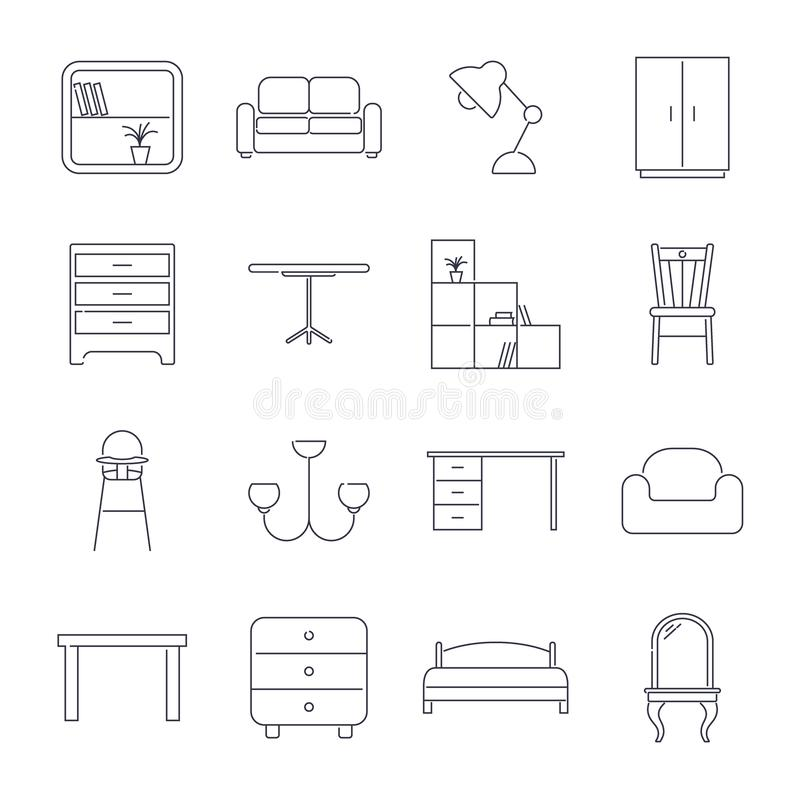Raccolta delle icone domestiche della mobilia nella linea stile sottile Colpo editabile royalty illustrazione gratis