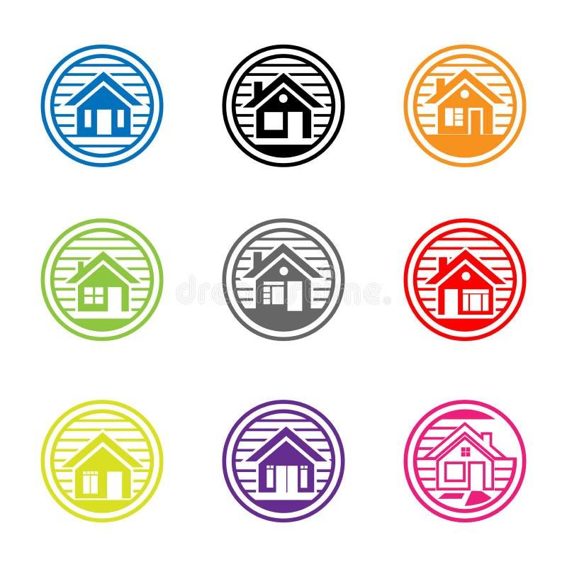 Raccolta delle icone domestiche vettore della casa Progettazione piana di logo royalty illustrazione gratis