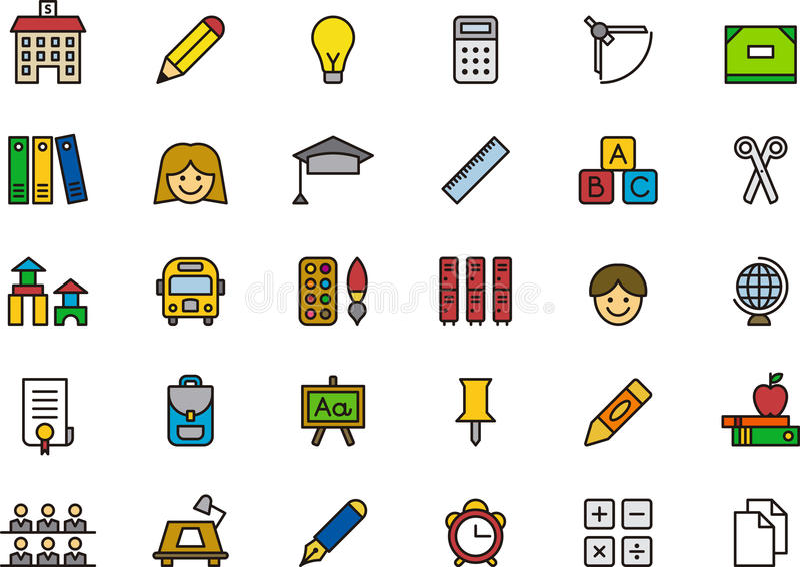 Raccolta delle icone o dei simboli di istruzione illustrazione vettoriale